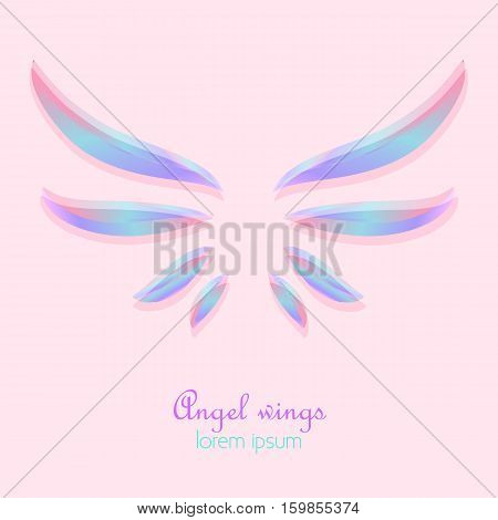 Elegant angel holographic wings on pink background. Abstract logo design. Stock vector illustration.