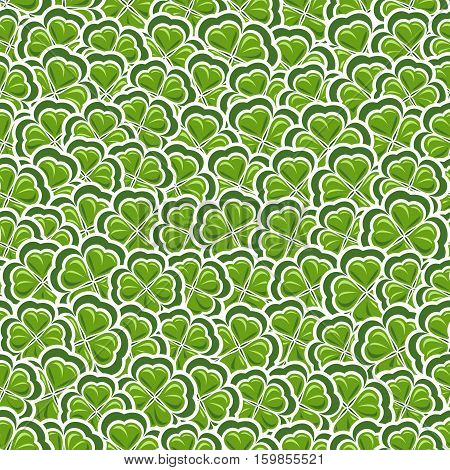 Vector Seamless Pattern Clover for St Patrick's Day, Green Shamrock wrapping paper, ornament clover foliage, spring shamrock seamless pattern, floral background irish trefoil, green art lawn