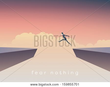 Businessman jumping over chasm vector concept. Symbol of business success, challenge, risk, courage. Eps10 vector illustration.