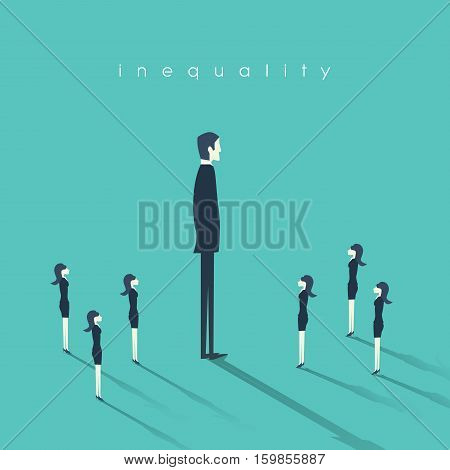 Business gender inequality concept with businessman and businesswoman symbol. Eps10 vector illustration.
