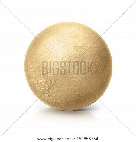 brass ball 3D illustration on white background