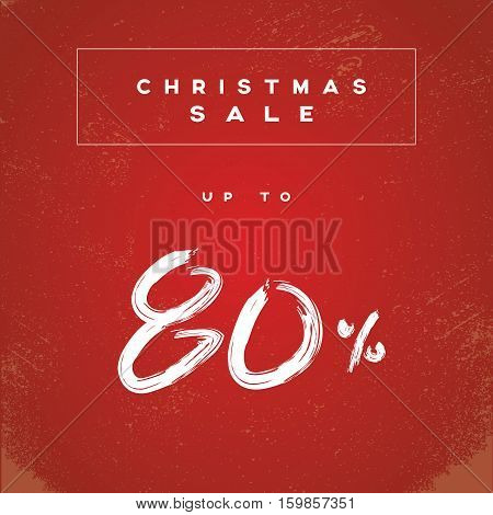 Christmas sale banner vector illustration with watercolor handwritten typography and grunge, vintage, worn, old style. Eps10 vector illustration.
