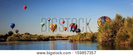 Albuquerque International Balloon Fiesta Mass Ascension over the Rio Grande River, New Mexico