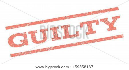 Guilty watermark stamp. Text caption between parallel lines with grunge design style. Rubber seal stamp with unclean texture. Vector salmon color ink imprint on a white background.