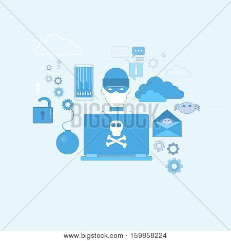 Hacker Activity Computer Viruses Data Protection Privacy Internet Information Security Web Banner Vector illustration