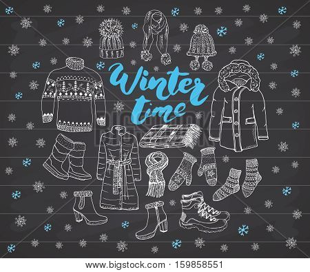Winter Season Set Doodle Elements. Hand Drawn Sketch Colection With Boots, Clothes, Warm Blanket, So