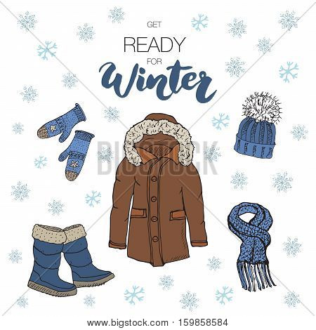 Winter Season Set Doodle Elements. Hand Drawn Sketch Colection With Boots, Warm Clothes, Socks, Glov