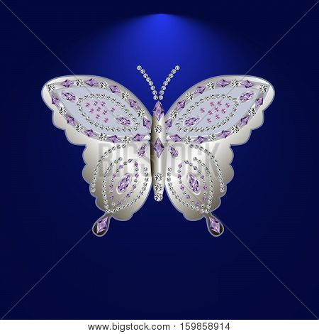 silver butterfly jewelry with precious stones.Isolated vector illustration.