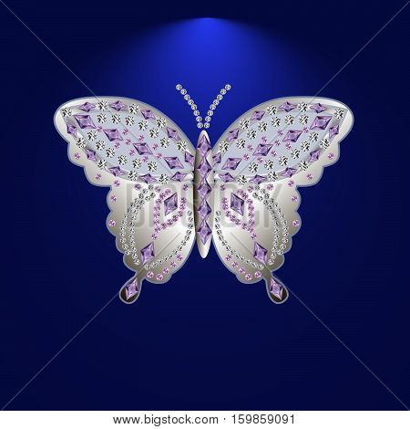 silver butterfly jewelry with precious stonesIsolated vector illustration.