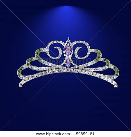 illustration beautiful diadem feminine wedding on we turn blue background