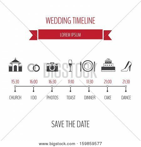 Wedding timeline infographic. Flat design style. Vector illustration.