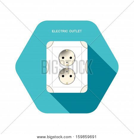 Vector isolated icon of electrical outlet on the turquoise hexagon background with shadow.