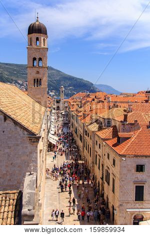 Stradun, the main limestone paved pedestrian street of Dubrovnik, Croatia