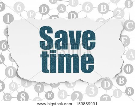 Time concept: Painted blue text Save Time on Torn Paper background with Scheme Of Hexadecimal Code
