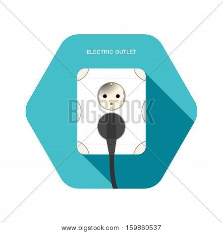 Vector isolated icon of european electric outlet with dark gray plug on the turquoise hexagon background with shadow.