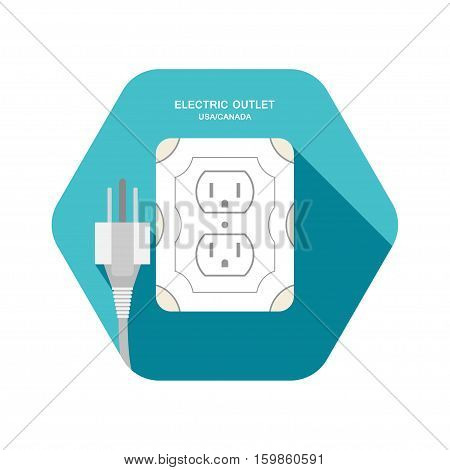 Electric outlet type B vector isolated icon with gray plug on the turquoise hexagon background with shadow.