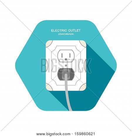 Vector isolated icon of electric outlet type B with dark gray plug on the turquoise hexagon background with shadow.
