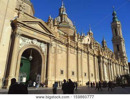 Cathedral-Basilica of Our Lady of the Pillar, the Breathtaking Landmark of Zaragoza, Aragon, Spain