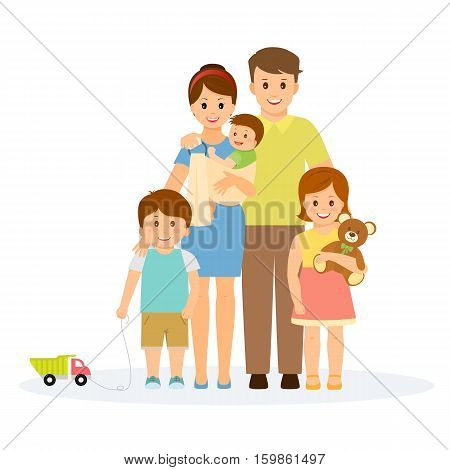 Family portrait in flat style.Smiling family with parents, children and grandparents.Isolated on white background.Vector illustration