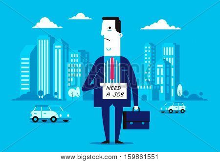 Vector flat design illustration of former worker or manager who is looking for a new job. Interesting concept of fired employee
