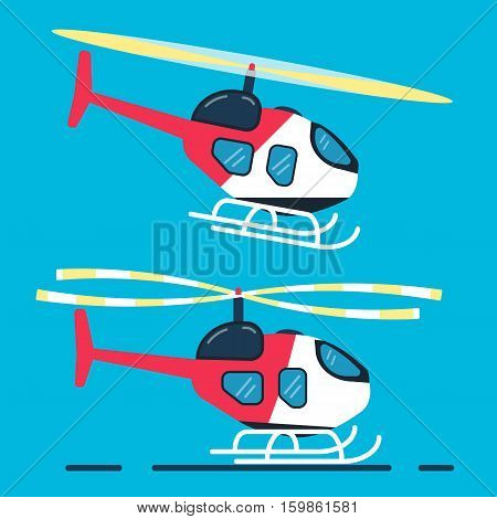 Helitack. Side view on helicopter. Vector flat design. Copter icon copter illustration. Flat design