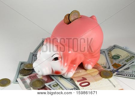 Classic pig bank, Isolated on White a Background.