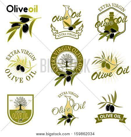 Extra virgin olive oil labels. Design element for label emblem brand mark sign. Vector illustration.