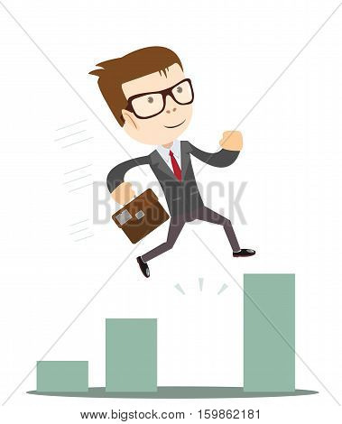 Businessman Jump Through The Gap In Growth Chart. Business concept cartoon illustration.