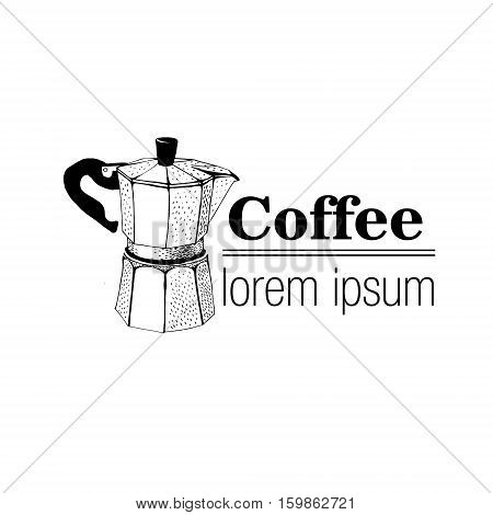 Vintage Style Logo With Geyser Coffee Maker.