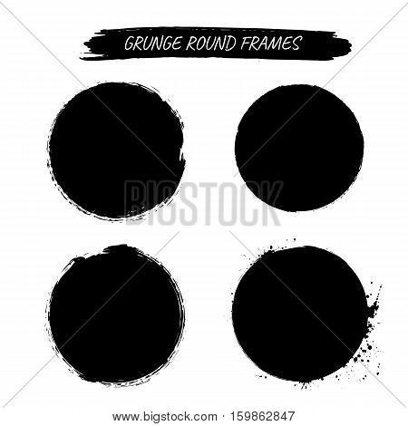 Set of vector grunge round frames. Black color.Isolated on white background.Vector circle.
