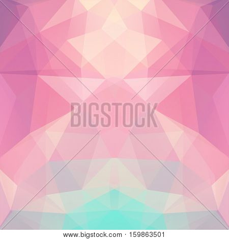 Background Made Of Triangles. Square Composition With Geometric Shapes. Eps 10 Pastel Pink, Orange,