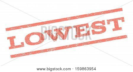 Lowest watermark stamp. Text caption between parallel lines with grunge design style. Rubber seal stamp with dust texture. Vector salmon color ink imprint on a white background.