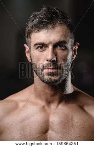 Handsome Men Face Close Up Portrait In The Gym