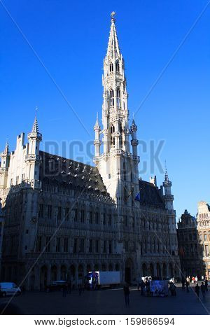 BRUSSELS BELGIUM - October 30: People at the main square of Brussels in front of city hall in the morning. Brussels October 30 2013.
