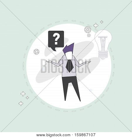 Business Man With Question Mark Pondering Problem Concept Vector Illustration