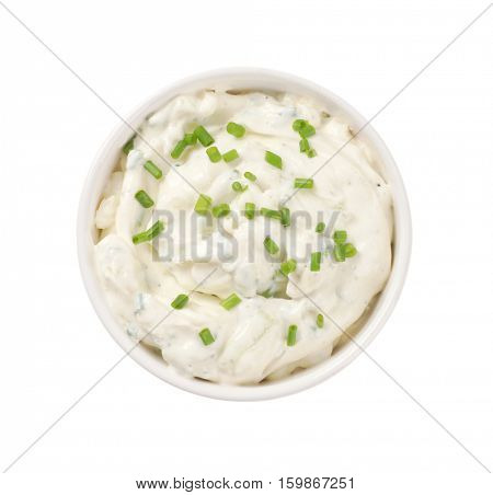 bowl of creamy cheese spread with chives