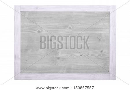 Wood frame for decorative text and image. White color.