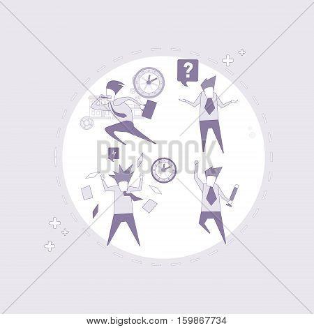 Business Man Set Busy Businessman Crisis Problem Deadline Thin Line Vector Illustration