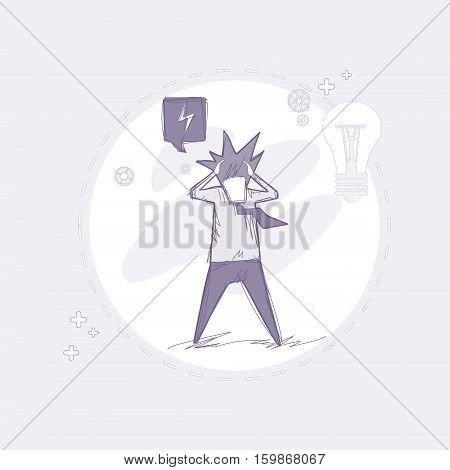 Business Man Hold Head Pondering Problem Concept Vector Illustration