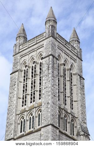 The tower of historic St Matthew-In-The-City Anglican church in Auckland city (New Zealand).