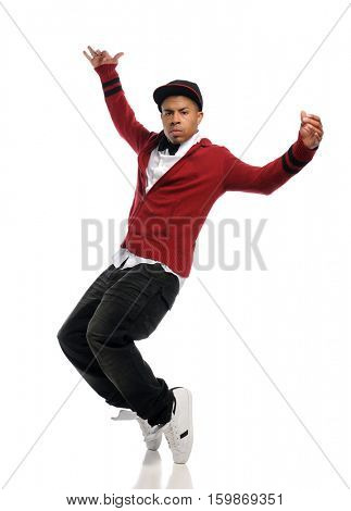 Young black man top dancing isolated on a white background
