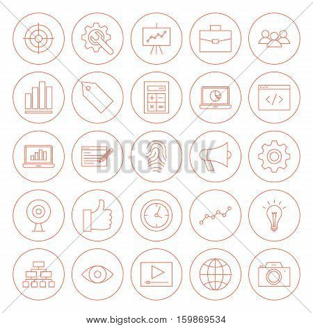 Line SEO Circle Icons. Vector Illustration of Outline Web Development Objects.