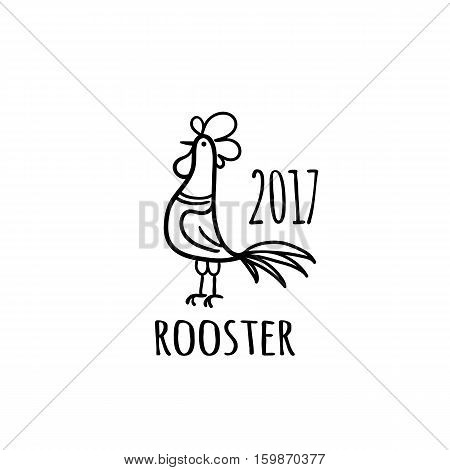 Rooster Logo template. 2017 vector illustration. Oriental zodiac symbol.