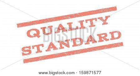 Quality Standard watermark stamp. Text caption between parallel lines with grunge design style. Rubber seal stamp with unclean texture. Vector salmon color ink imprint on a white background.