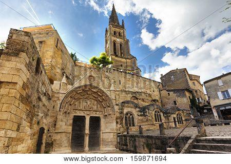 Old monolithic church in the Saint Emilion village near Bordeaux, France