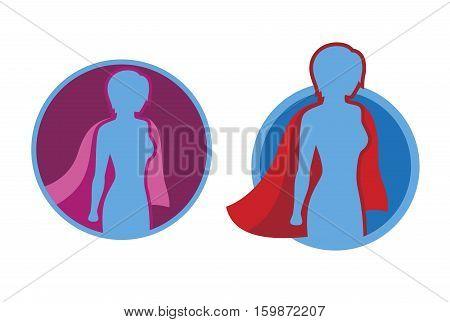 Female superhero icon - vector superhero silhouette wearing red cloak flying on wind.
