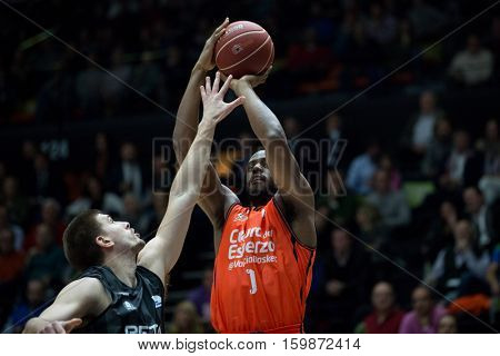 VALENCIA, SPAIN - DECEMBER 3: Thomas with ball during spanish league match between Valencia Basket and Bilbao Basket at Fonteta Stadium on December 3, 2016 in Valencia, Spain
