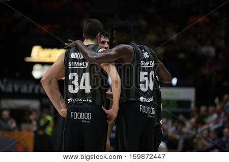 VALENCIA, SPAIN - DECEMBER 3: Bilbao team during spanish league match between Valencia Basket and Bilbao Basket at Fonteta Stadium on December 3, 2016 in Valencia, Spain
