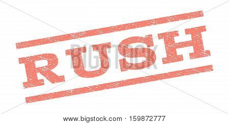 Rush watermark stamp. Text tag between parallel lines with grunge design style. Rubber seal stamp with scratched texture. Vector salmon color ink imprint on a white background.