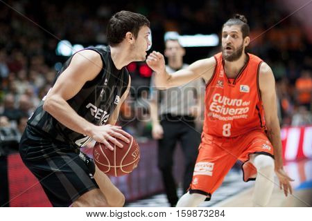 VALENCIA, SPAIN - DECEMBER 3: Dejan Todorovic with ball during spanish league match between Valencia Basket and Bilbao Basket at Fonteta Stadium on December 3, 2016 in Valencia, Spain